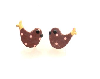 Bird stud earrings made with sterling silver and  wood hand decorated
