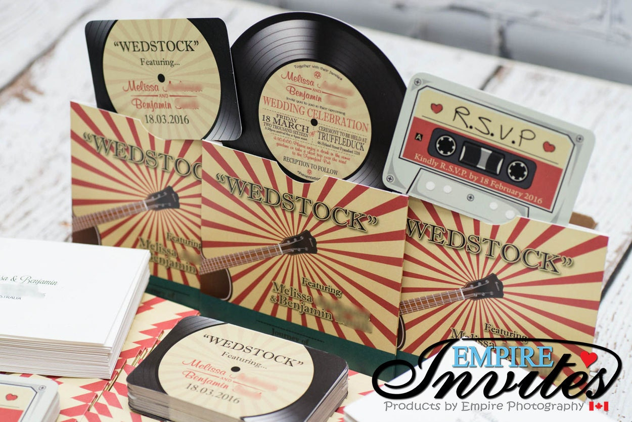 Record Wedding Invitations: Vinyl Record Invitations Music Themed Wedding Invitations