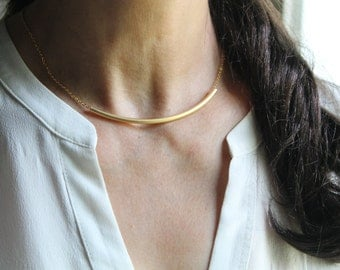 Gold Curved Tube Necklace, Ring Necklace, Choker Necklace, Dainty, Simple
