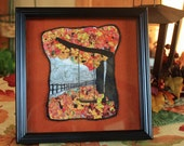 Fabric art landscape of fall scene with trees swing fence, handmade confetti art quilt framed, autumn trees, unique mini quilt wallhanging