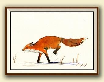PRINT-Red Fox jumping snow print watercolor painting art wall original forest - Art Print by Juan Bosco