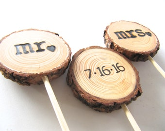 Wedding Cake Topper, Wood Cake Topper, Wood Rustic Wedding Cake Topper, Wood Country Wedding