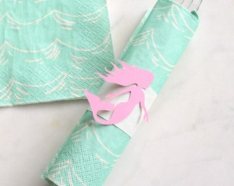 Mermaid Party Decorations - Mermaid Napkin Wraps & Ocean Napkins - Under the Sea Party Decorations