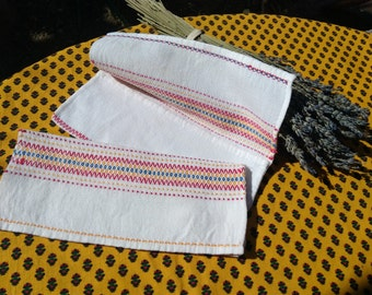 2 White Folk Napkin Cases Handmade White cotton Pouch Red Blue Yellow Stripes Sewing Project #sophieladydeparis