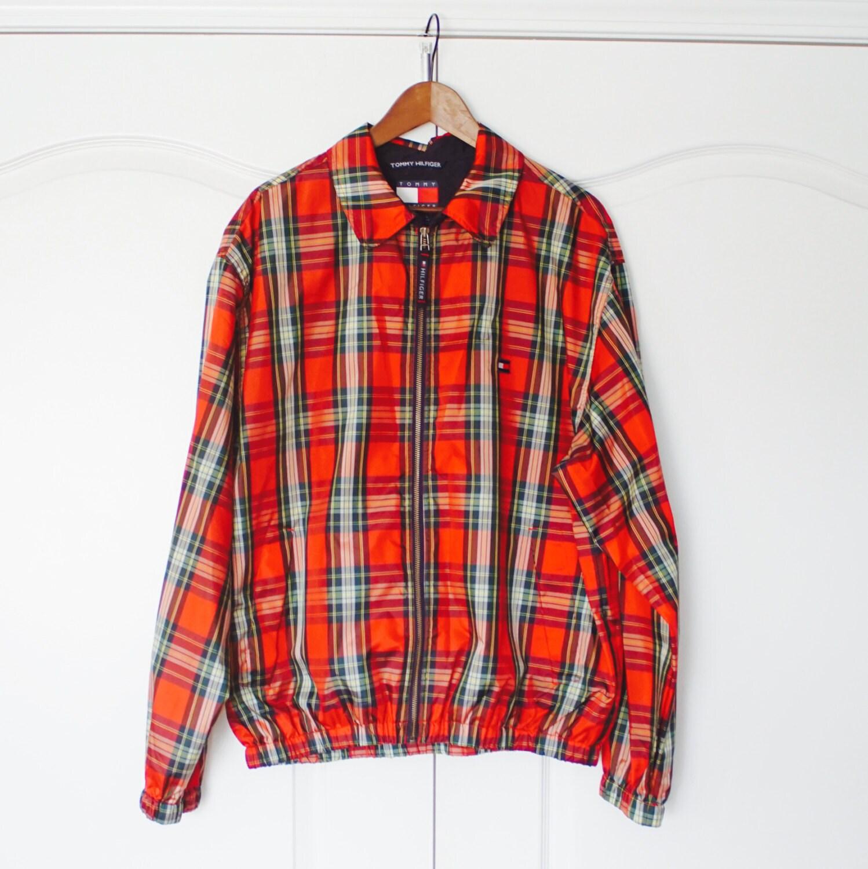 vintage 90s tommy hilfiger tarten windbreaker jacket l large. Black Bedroom Furniture Sets. Home Design Ideas