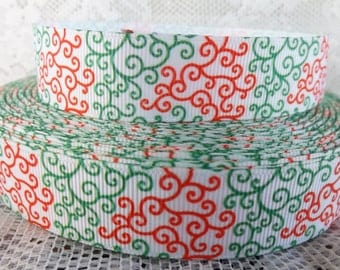 Christmas ribbon 22mm Christmas swirl ribbon 7/8 red green ribbon