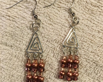 Silver Triangle with Copper Mix Bead Earrings