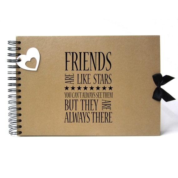 Scrapbook, A5 A4 Friends are like Stars, Card Pages, Photo Album, Keepsake, Kraft
