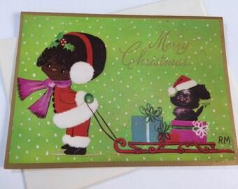 Vintage Holiday Christmas Greeting Card - Little Girl with Dog on Sled - African American Christmas Card Unused - Black Americana Christmas