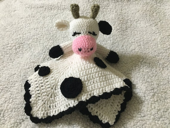Cow Crochet Snuggle Lovey Blanket