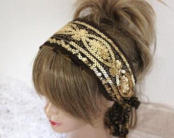 Gold headband, Gold processing Headband, Sequin headband, Wedding headband, Handmade gold headband, Unique headband, Costume hair band