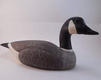 Vintage Canadian Goose Wood Duck Decoy Artist Signed Eric Sanders Jan 85 Hand Carved Hand Painted Glass Eyes Goose Duck Decoy Sculpture