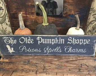 The Olde Pumpkin Shoppe Sign in Parchment and Black
