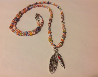 Two feather beaded necklace