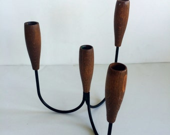 Mid Century Teak and Wire Narrow Taper Candle Holder
