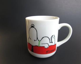 "Vintage SNOOPY Schultz 1958 Coffee Tea Latte Mug Porcelain Charlie Brown ""I'm Not Worth A Thing Before Coffee Break!"