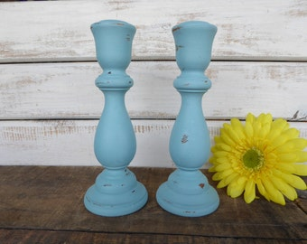"""Set of 7"""" Distressed Beach Blue Wooden Candle Sticks Holder Vintage Candlestick Shabby Chic Rustic Home Decor"""