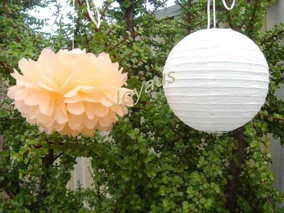 Peach Pom Poms & White Paper Lanterns for Wedding Engagement Anniversary Birthday Party Bridal Baby Shower Decoration