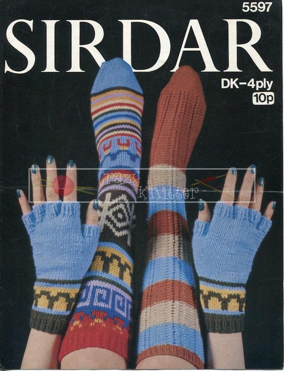 Lady's Socks and Gloves Sirdar 4ply DK 5597 Vintage Knitting Pattern PDF instant download
