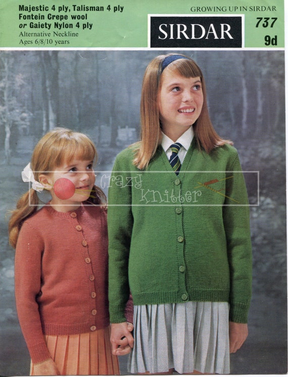 Girls Classic Cardigan 6-10 years 4-ply Sirdar 737 Knitting Pattern PDF instant download