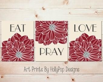 Eat Pray Love Art Dining room wall decor Kitchen art print set Red cream Dining room art prints Inspirational prints Dahlia wall decor #1480