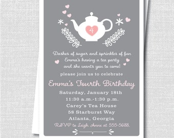 Afternoon Tea Party Invite - Modern Tea Party Birthday - Digital Design or Printed Invitation - FREE SHIPPING