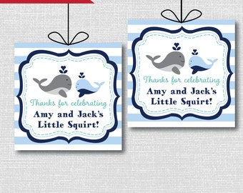 Boy Whale Favor Tags - Whale Theme Baby Shower - Digital Design or Handcrafted Tags - FREE SHIPPING
