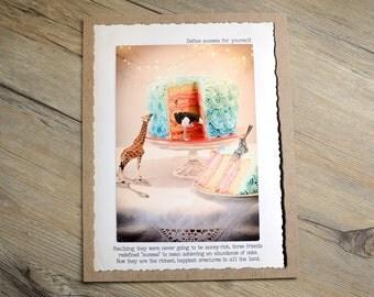 11x14 The Secret to Success Print • Animal Home Decor • Motivational Digital Print • Collectible Animal Tales Art • Fable Wall Art • Giraffe