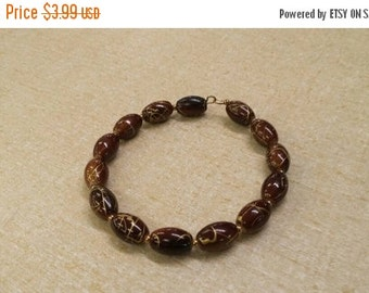 On Sale Tiny Brown and Gold Oval Bead  Bangle  Costume Jewelry Fashion Accessory
