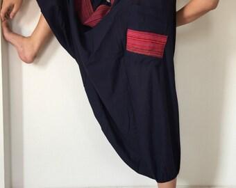 HC0311 Navy Jumpsuit, Hilltribe Harem Pants Unisex Low Crotch Yoga Trousers,