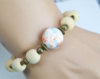 bracelet cuir et perles cr nes os grav. Black Bedroom Furniture Sets. Home Design Ideas