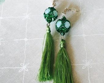 Emerald green swarovski crystals and tassel earrings