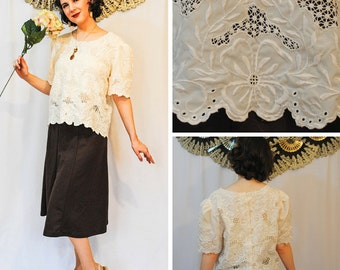 White Lace Blouse with Buttons up the back