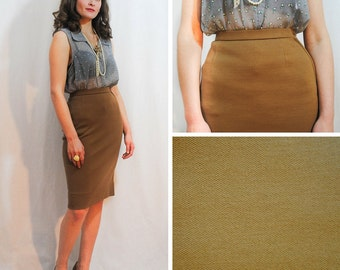 Vintage Pencil Skirt - Light Brown Pencil Skirt - Pencil Skirt - Librarian Skirt