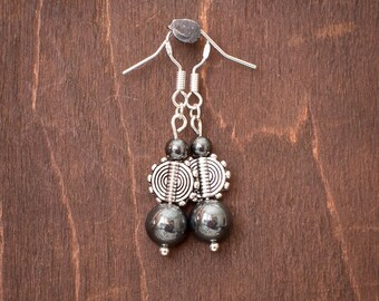 Hematite and Silver Spiral Drop Earrings