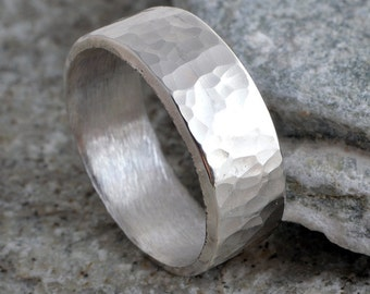 Silver ring 6mm sterling silver band ring hammered band ring 925 hammer finish made in UK