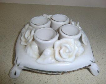 Vintage 4 Candles Holder/Leapstick Holder, White porcelain Figural Roses pre used