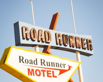 vintage sign photography, road runner, route 66,  vintage motel sign print, mid-century decor, retro decor, western art, large wall art