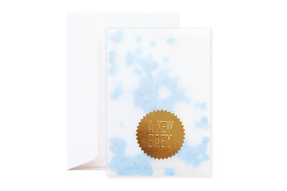 Confetti New Baby Greeting Card (including envelope) // Boy // feat. Gold Embossed Sticker // Blue confetti