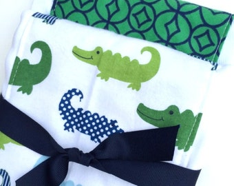 Babies Burp Cloth Set- Burp Rags-Cute Green Blue Preppy Alligator Alligators, Baby Shower Gift, For Feeding Nursing Cloths, Matching Bib