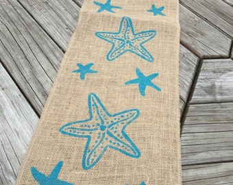 Burlap Table Runner, Table Runner, starfish runner, beach theme *Free Shipping*