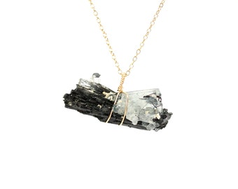 Aquamarine necklace - tourmaline necklace - beryl necklace - raw crystal necklace - mineral specimen necklace - tourmalated crystal