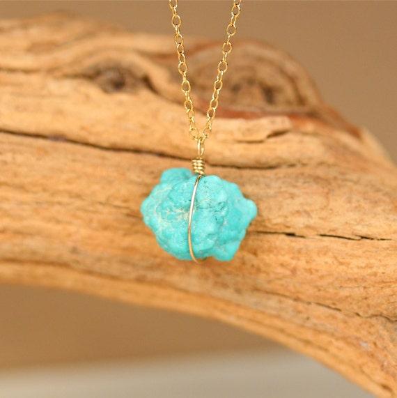 Sleeping beauty turquoise necklace - arizona turquoise - genuine turquoise necklace - raw turquoise necklace - turquoise necklace in gold