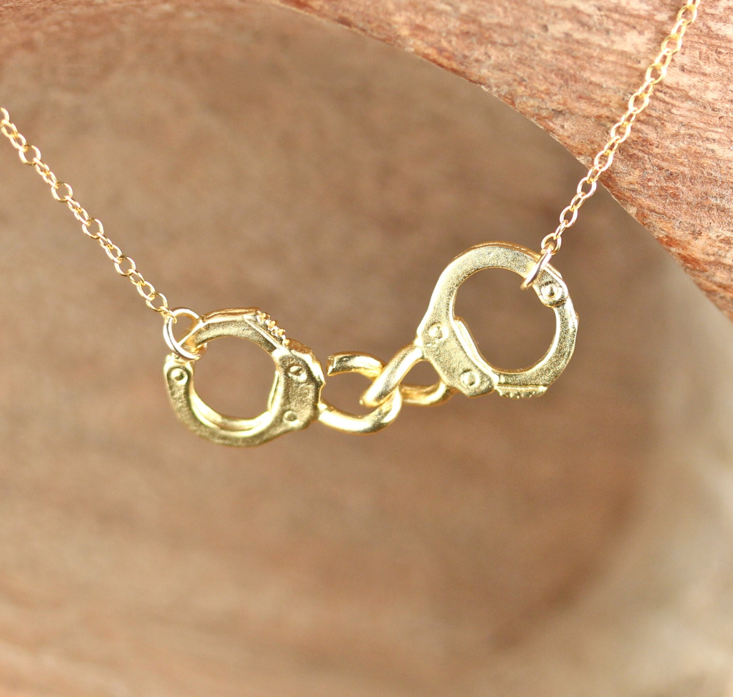 Handcuff Necklace Gold: Handcuff Necklace Partners In Crime A Pair Of Gold