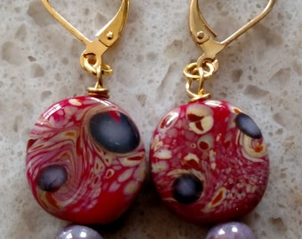 Red Glass Earrings with purple accents