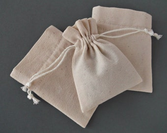 Blank cotton bags, Small Drawstring jewelry bags, Natural refilable sachet bags Reusable Merchadising pouches  10 x 8 cm