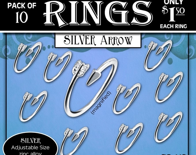 "CLEARANCE Silver Arrow Rings Pack of 10 rings only 1.50 each ring. ""Press Forward with a Steadfastness"" 2016 YW Young Women ring or charm"