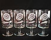 Culver Glassware, Culver Glasses, Culver Footed Glasses, Culver Footed Glass Set, Culver Flower Power Glass Set, Culver Mod Flowers Glasses