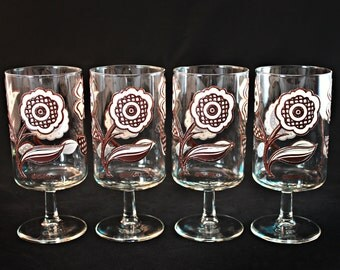 Culver Glassware, Culver Glasses, Culver Footed Glasses, Culver Footed Glass Set, Culver Flower Power Glass Set, Culver Mod Flowers Glasses