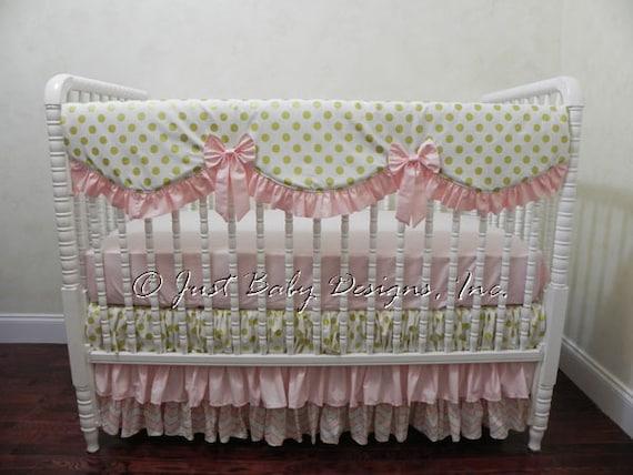 girl baby crib bedding set carissa pink and gold baby. Black Bedroom Furniture Sets. Home Design Ideas